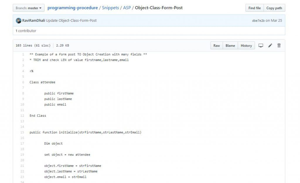 Classic ASP Programming Expert Git Hub with our Classic ASP Developer