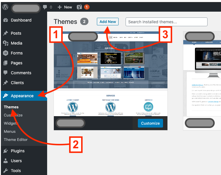 Theme section of a WordPress webstie